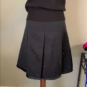 ANN TAYLOR PETITES * black skirt with beading 16P